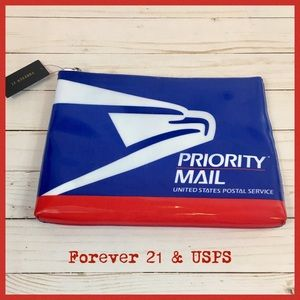Forever 21 USPS Priority Mail Zipper Clutch *NWT*
